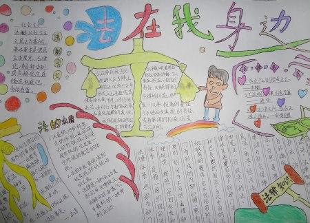 """刁镇刁东小学开展""""法制在心中 共圆中国梦""""系列活动之手抄报"""