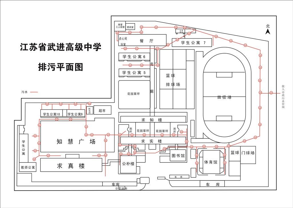 江苏省武进高级中学排污平面图