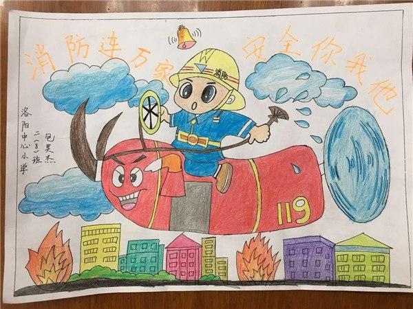 火灾急救简笔画