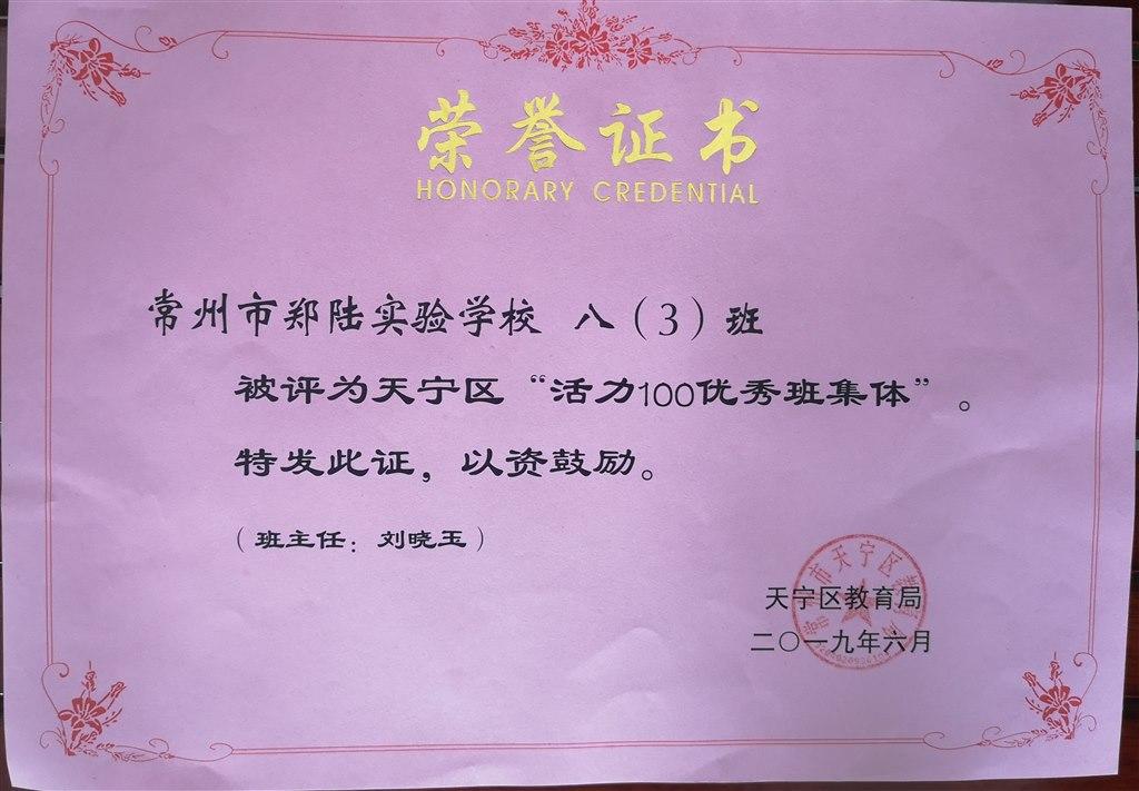 """2019,06八(3)班被评为天宁区""""活力100优秀班集体"""",班主任:刘晓玉.jpg"""